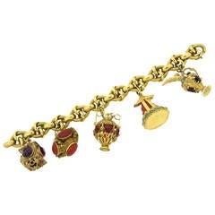 Antique Multi Gem Set Gold Charm Bracelet