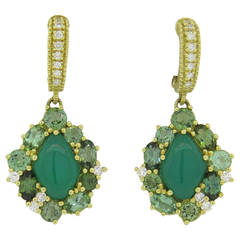 Judith Ripka Green Chalcedony Gemstone Diamond Drop Earrings
