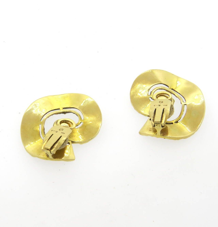 Large 1970s Ilias Lalaounis Gold Swirl Earrings 3