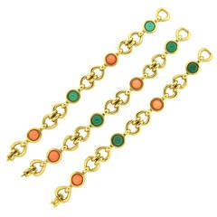 1970s Van Cleef & Arpels Convertible Coral Chrysoprase Bracelet Necklace Suite