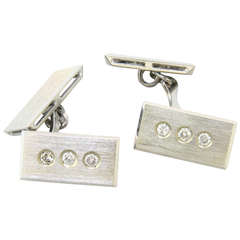 1970s Gold Diamond Cufflinks