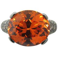 Gold Spessartite Garnet Diamond Ring