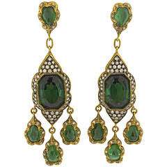 Impressive Cathy Waterman Green Tourmaline Diamond Gold Chandelier Earrings