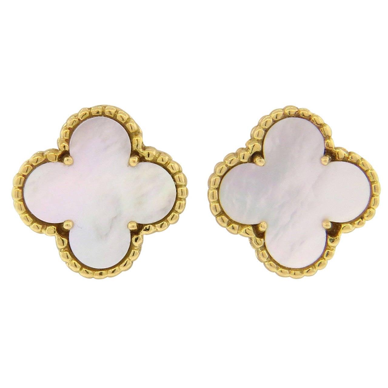 Van Cleef Arpels Vintage Alhambra Mother Of Pearl Gold Clover Earrings For