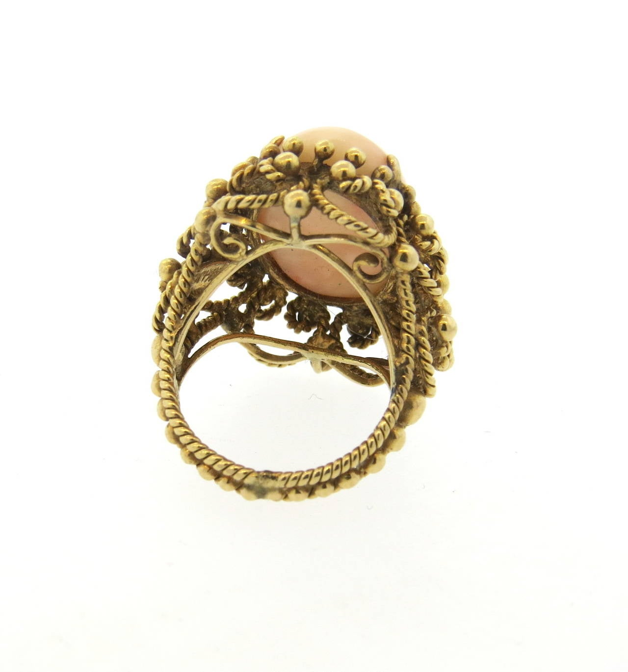 1960s Angel Skin Coral Gold Ring 2