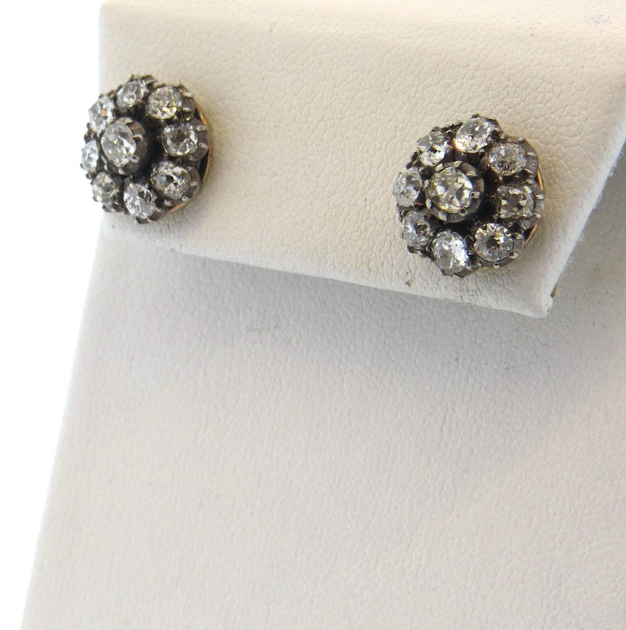 Antique Old Mine Cut Diamond Silver Gold Stud Earrings At