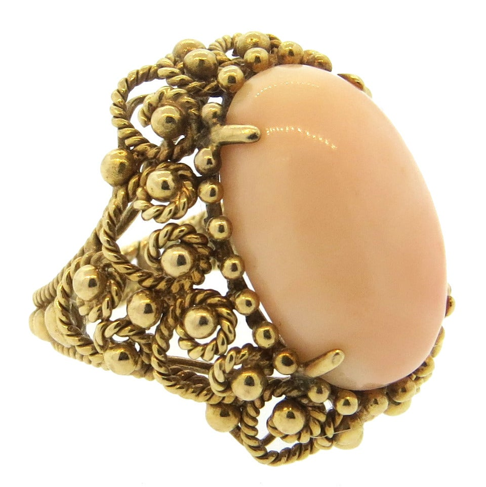 1960s Angel Skin Coral Gold Ring 1