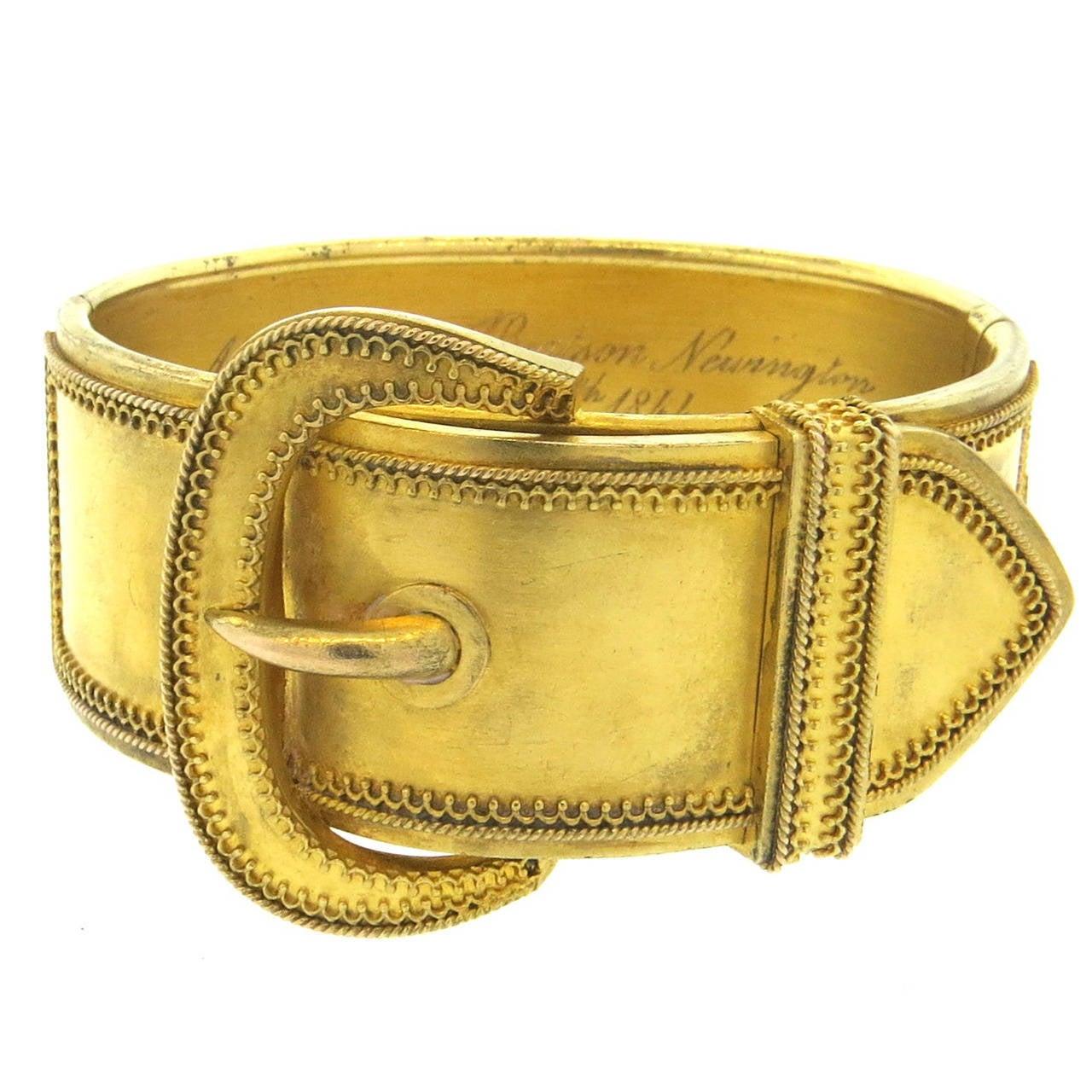 Antique Victorian Gold Buckle Bangle Bracelet At 1stdibs