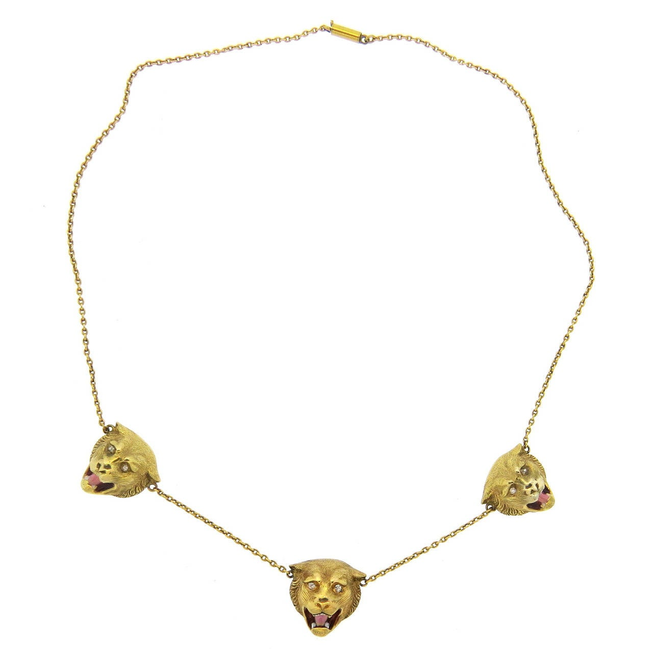 antique enamel diamond gold lion head necklace at 1stdibs