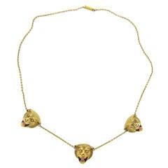Antique Enamel Diamond Gold Lion Head Necklace