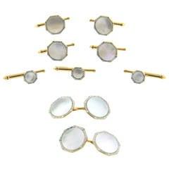 Art Deco Larter & Son Mother of Pearl Gold Platinum Cufflinks Stud Dress Set