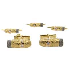 1970s Diamond Gold Cigar Cufflinks Stud Set