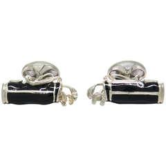 Deakin & Francis Sterling Silver Black Enamel Golf Bag Cufflinks