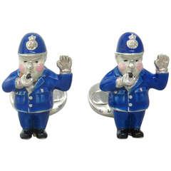 Deakin & Francis Enamel Sterling Silver Policeman Cufflinks