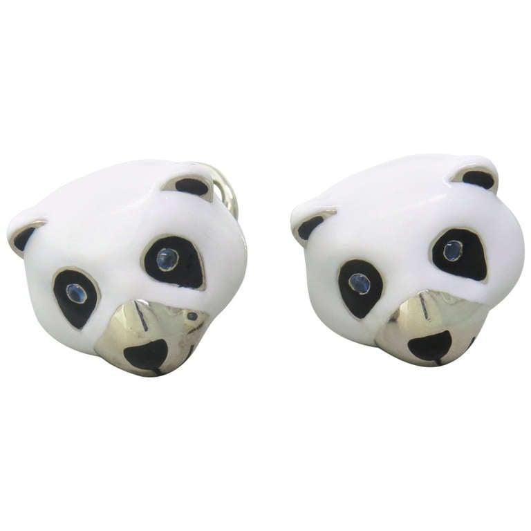 Deakin & Francis Sterling Silver Panda Bear Cufflinks