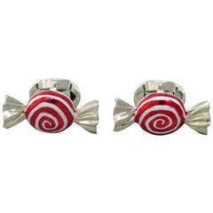 Deakin & Francis Sterling Sweet Round Swirl Candy Cufflinks