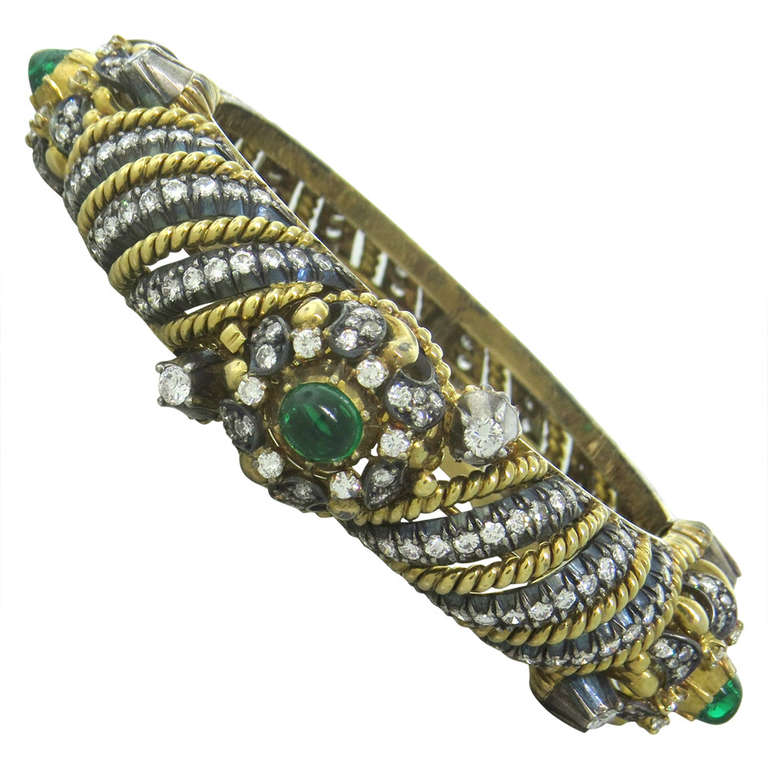 Fine Diamond Emerald Cabochon Silver Gold Bangle Bracelet