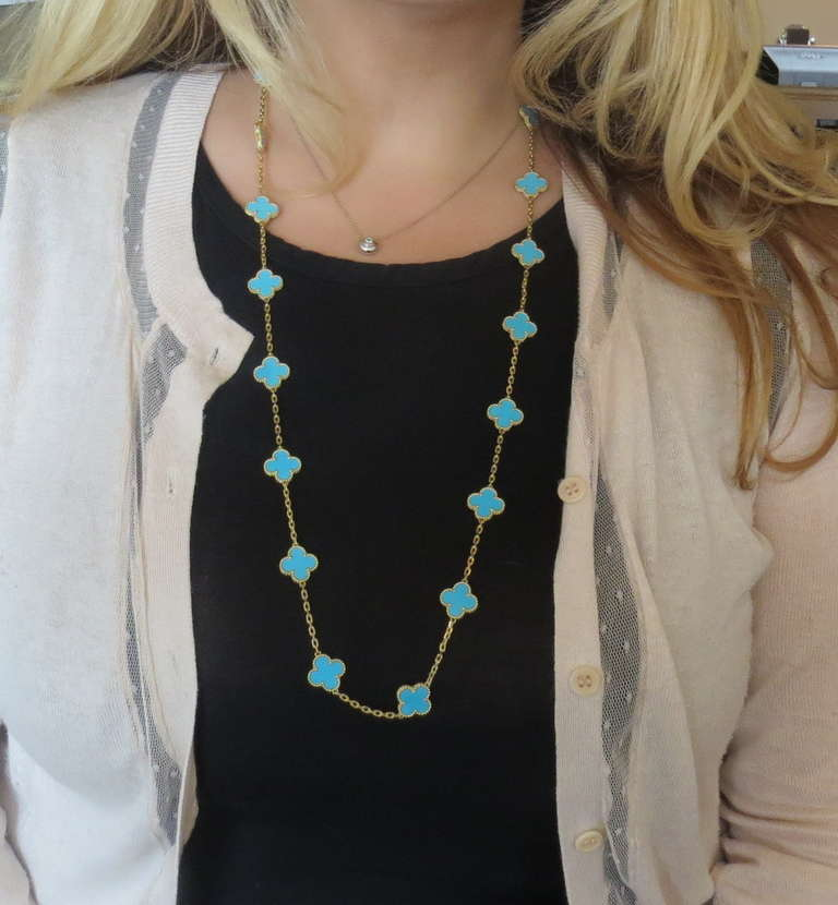 Van cleef arpels alhambra 20 motif turquoise gold necklace at 1stdibs aloadofball Image collections