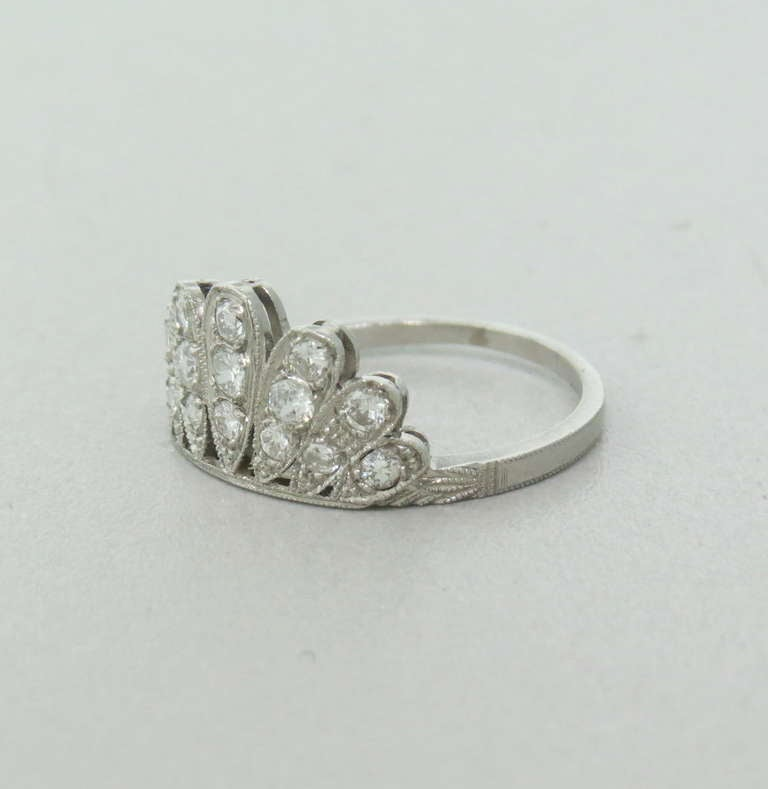 deco platinum wedding band guard ring at 1stdibs
