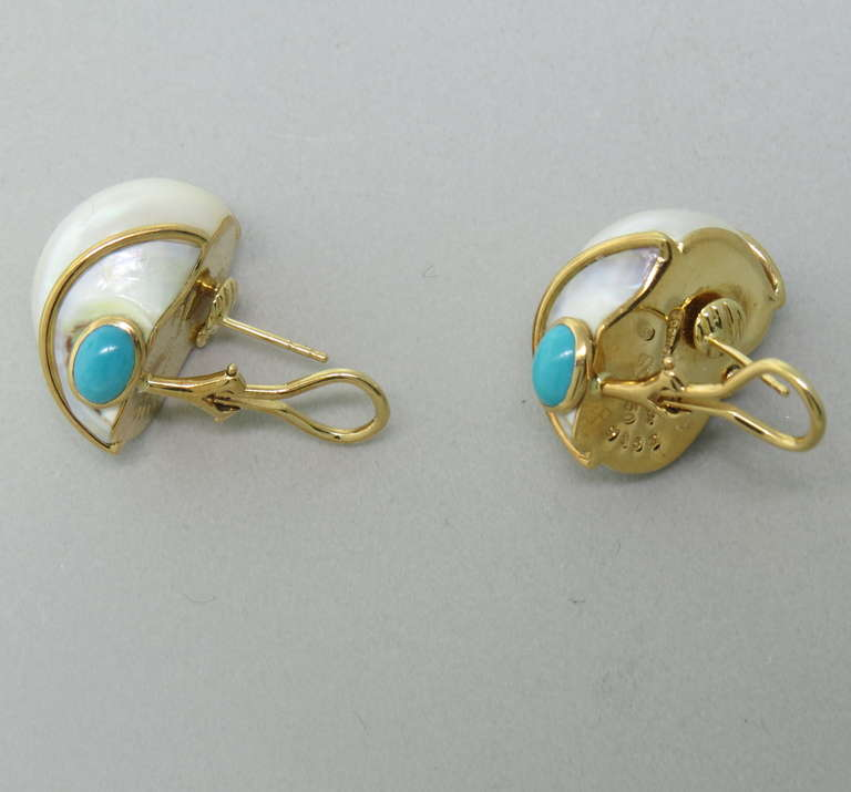 seaman schepps gold turquoise turbo shell earrings at 1stdibs