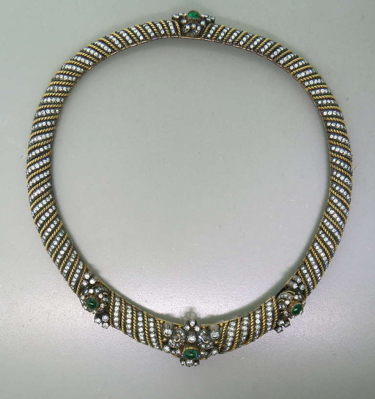 Metal: 18k Gold & Silver Gemstones - Emerald Cabochons.  Diamonds approx. 18.00ctw VS / G-H Necklace Is 16