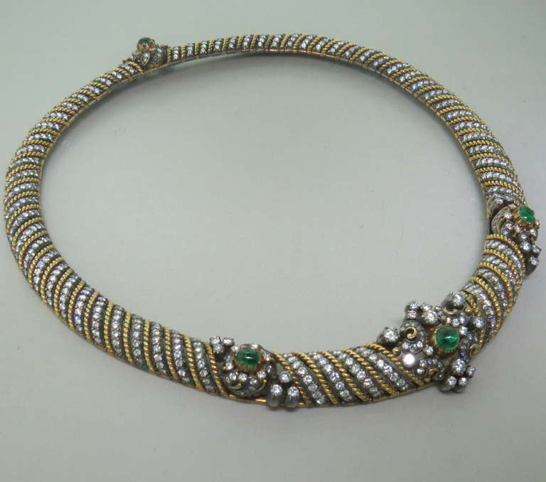 Fine Diamond Emerald Cabochon Silver Gold Necklace In Excellent Condition For Sale In Lahaska, PA