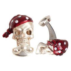 Deakin & Francis Sterling Silver Red Bandana Skull Ruby Cufflinks
