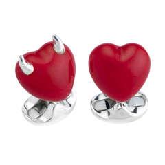 Deakin & Francis Enamel Sterling Good and Bad Heart Cufflinks
