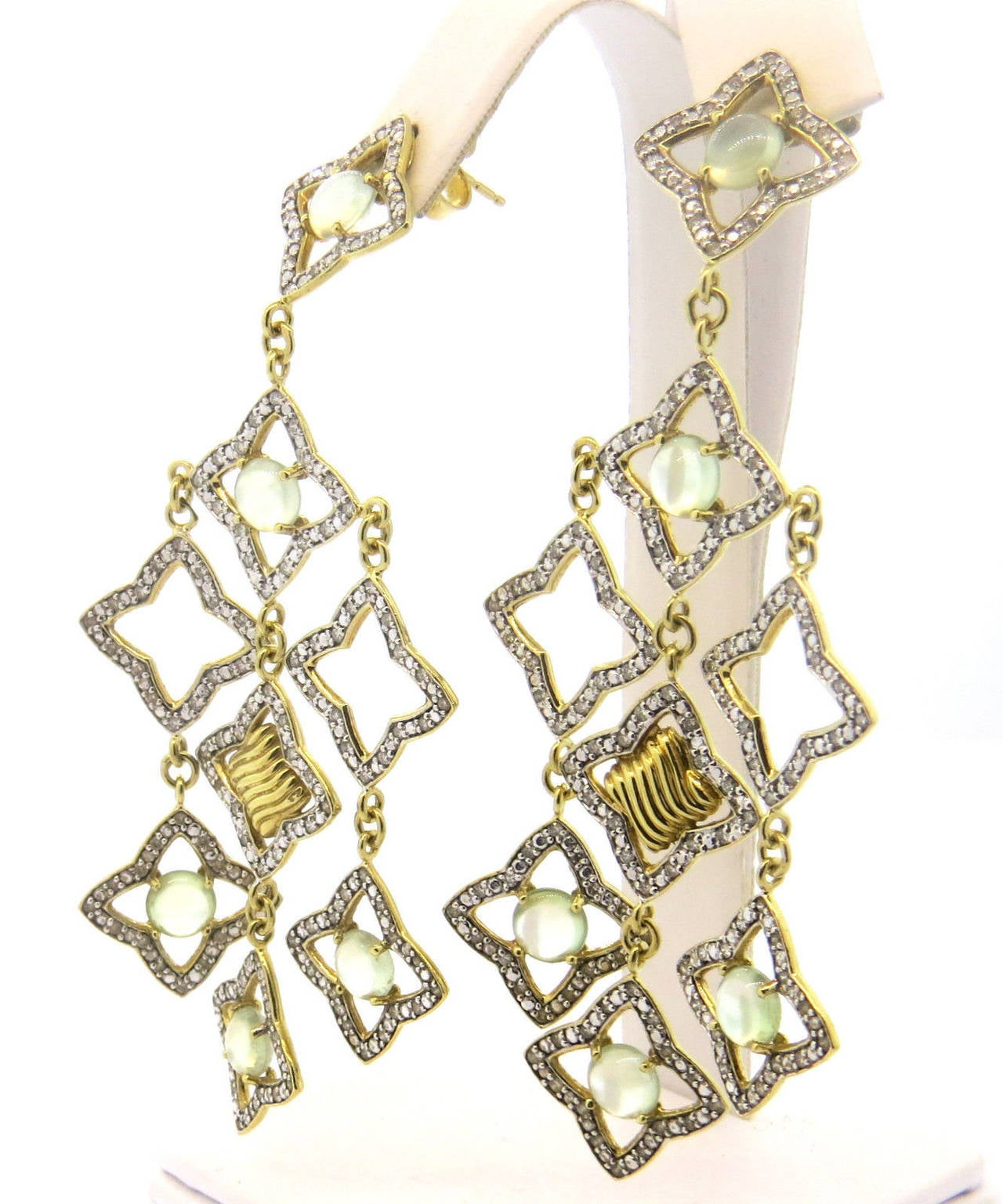 Large 18k Gold Chandelier Earrings Designed By David Yurman For Famous Quatrefoil Collection Featuring