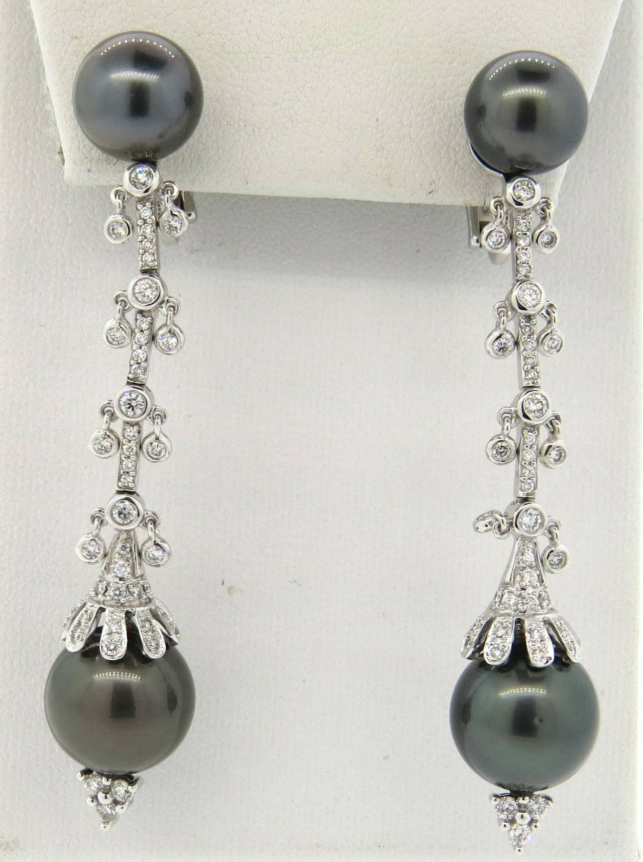 Exquisite Tahitian Pearl Diamond Gold Long Drop Earrings at 1stdibs