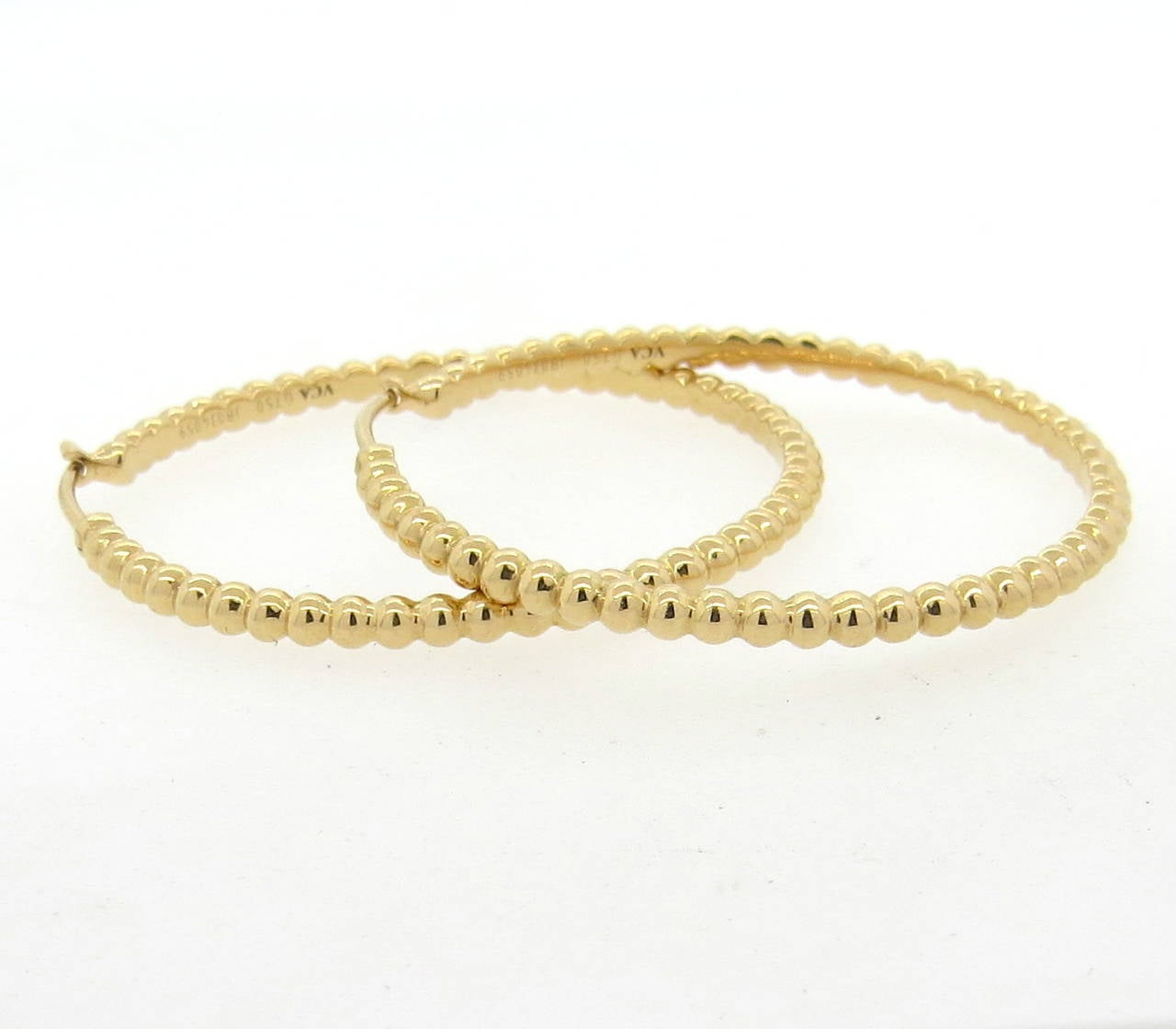 Women S Van Cleef Arpels Perlee Gold Beaded Hoop Earrings For