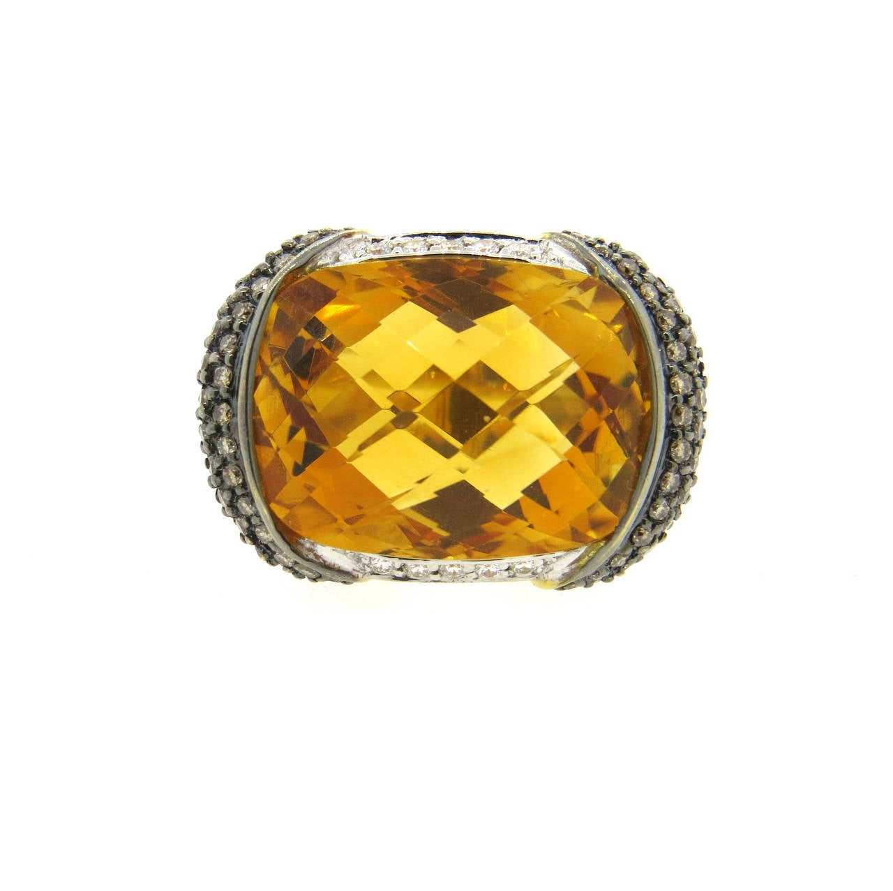 modern citrine fancy gold cocktail ring for sale