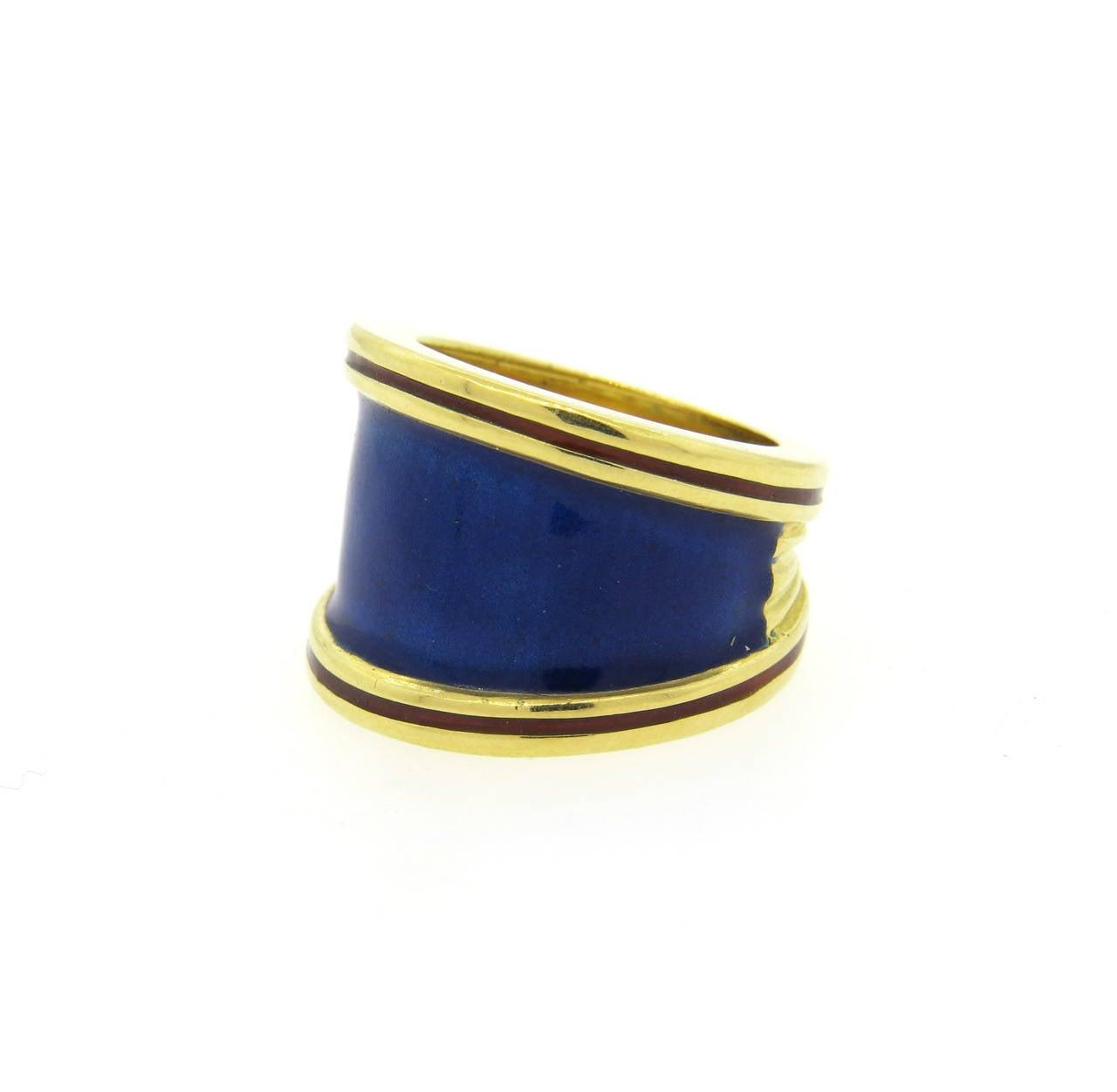 wide gold cigar enamel band ring at 1stdibs