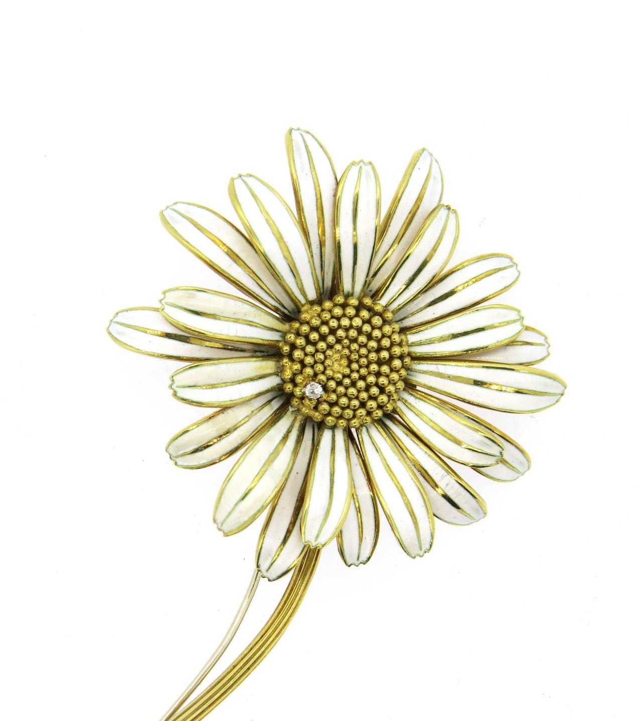 1960s Enamel Diamond Over Sized Gold Daisy Brooch Pin 5