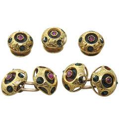 Antique Rhodolite Nephrite Gold Cufflink Stud Set