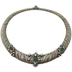 Fine Diamond Emerald Cabochon Silver Gold Necklace