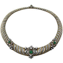 Fine Diamond Emerald Cabochon Silver Gold Necklace