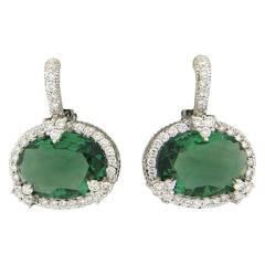 Judith Ripka Green Quartz Diamond Gold Earrings