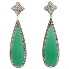 Imressive David Yurman Chrysoprase Diamond Gold Quatrefoil Drop Earrings