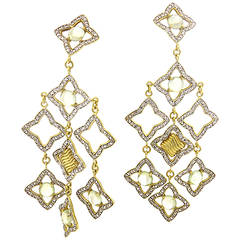 David Yurman Quatrefoil Gold Diamond Prasiolite Chandelier Earrings