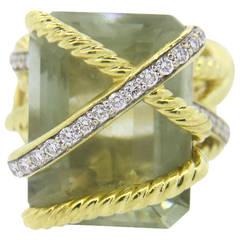 David Yurman Gold Diamond Prasiolite Cable Wrap Ring