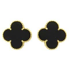 Van Cleef & Arpels Magic Alhambra Black Onyx Gold Earrings
