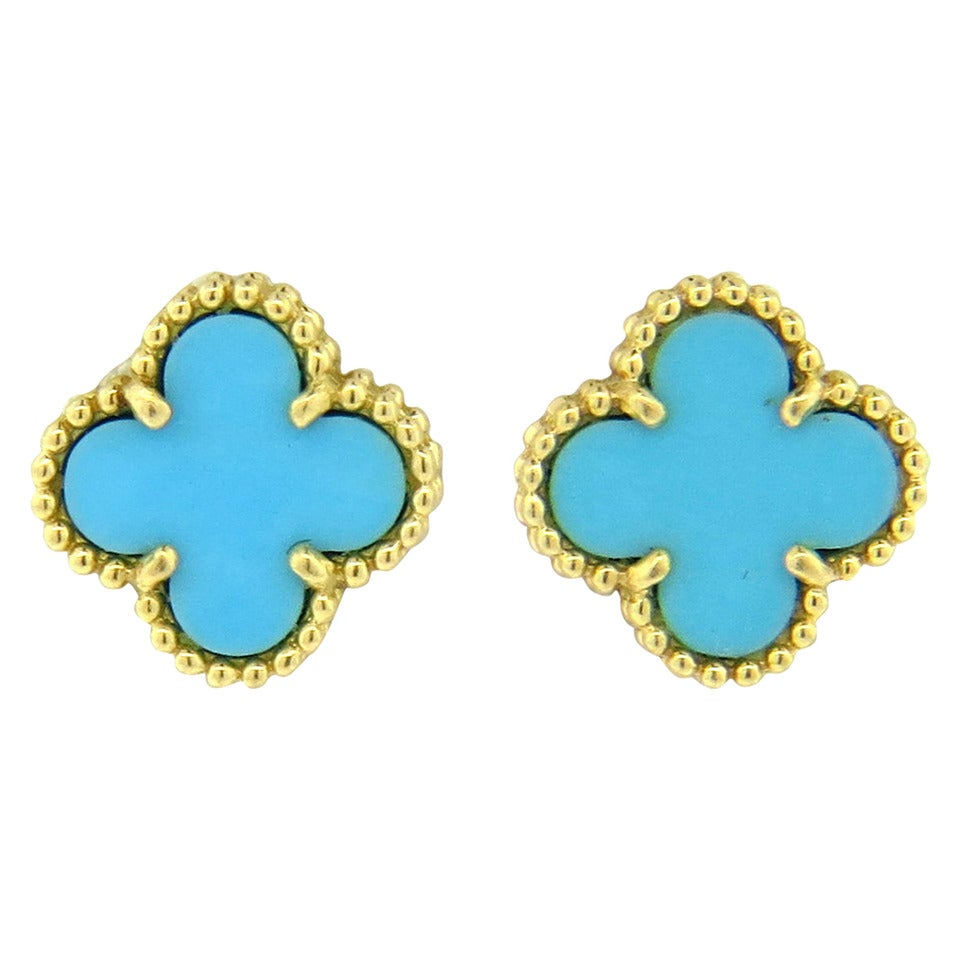 Van Cleef & Arpels Sweet Alhambra Turquoise Gold Stud Earrings 1
