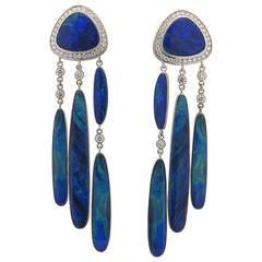 Impressive Jorge Adeler Gold Black Opal Diamond Earrings