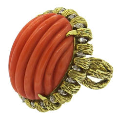 1960s Large Carved Coral Diamond Gold Ring