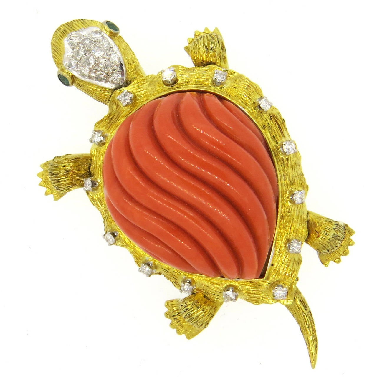 Exquisite Carved Coral Emerald Diamond Gold Turtle Brooch Pin