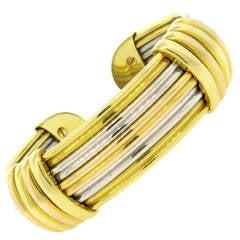 1970s Luis Gill Tri Color Gold Wide Cuff Bracelet