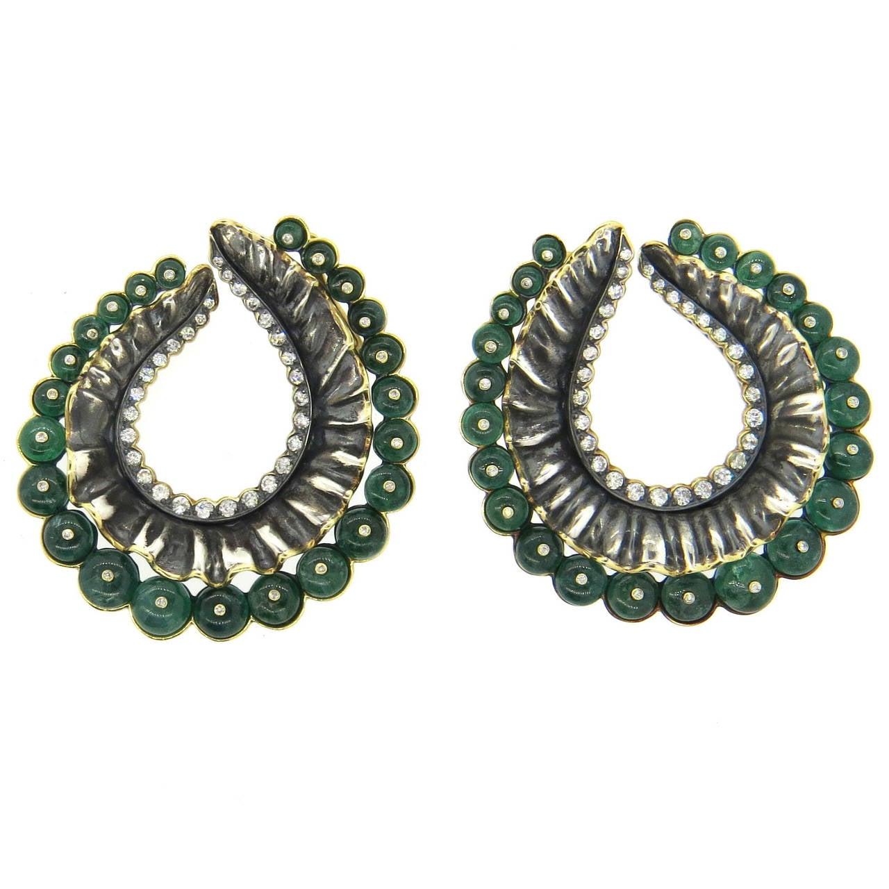 Impressive Marilyn Cooperman Large Emerald Diamond Silver Gold Swirl Earrings