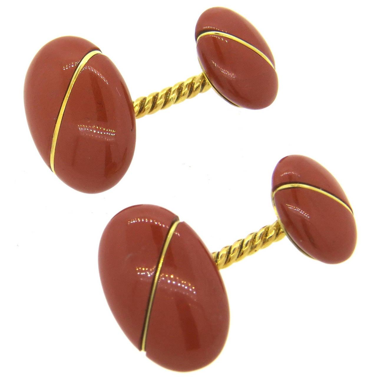 1960s Tiffany & Co. Jasper Gold Cufflinks