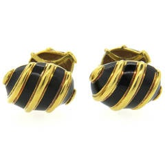 Tiffany & Co. Jean Schlumberger Black Enamel Gold Cufflinks